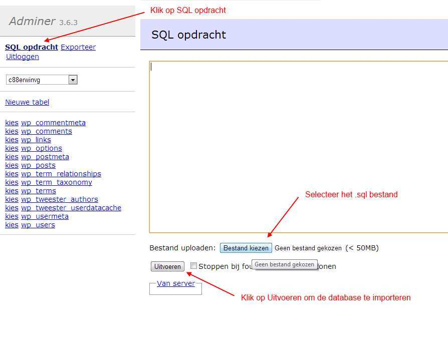 Importeer de database via Adminer