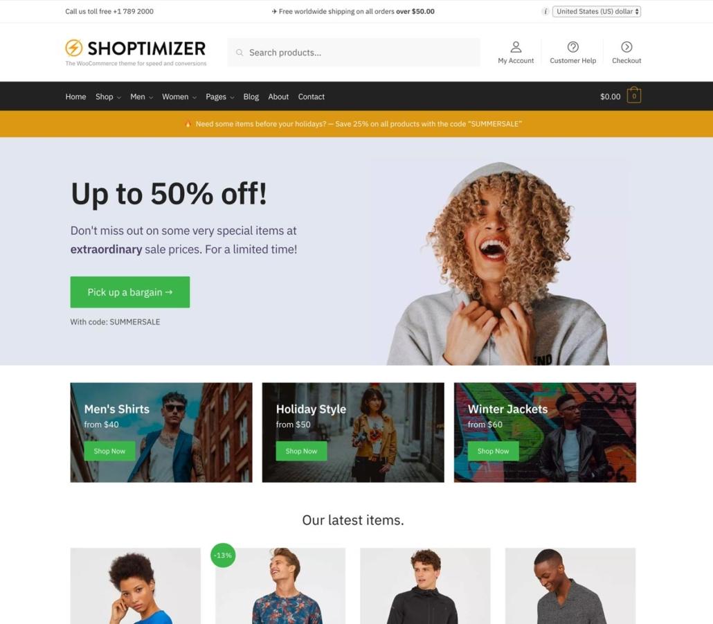 WordPress webshop theme: Shoptimizer