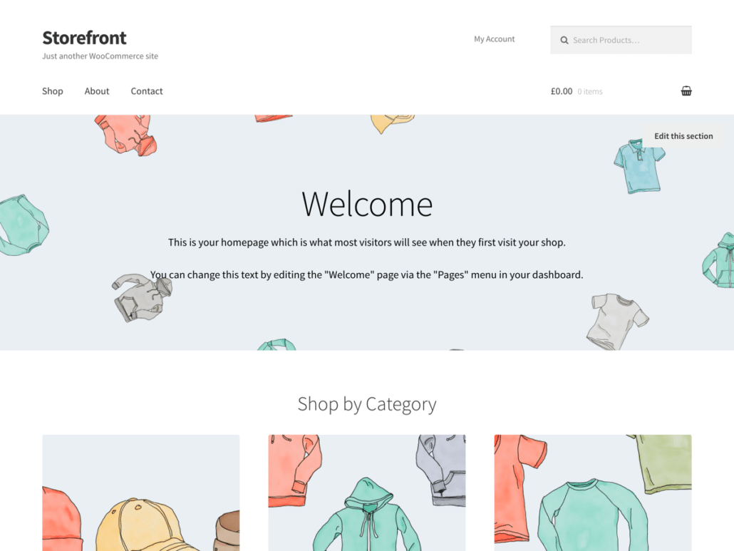 WordPress webshop theme: Storefront